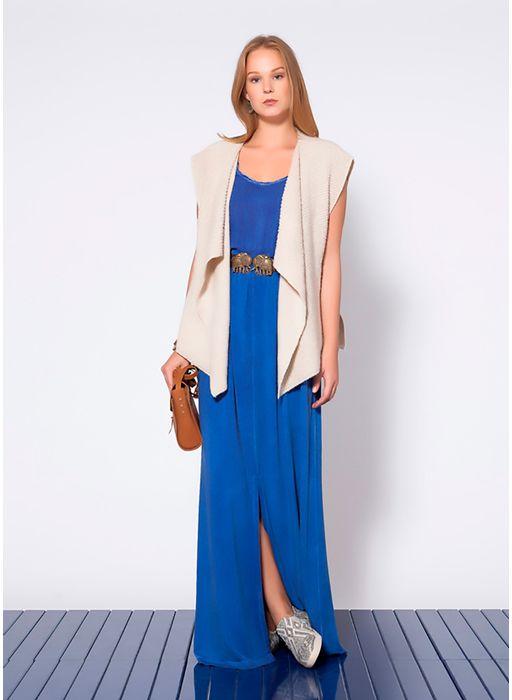 Vestido Longo Mix Malha E Tecido Azul Cantao
