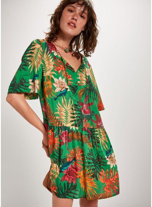 5b7f332b9df8 Vestido curto estampado cipó - Compre Online na Cantão!