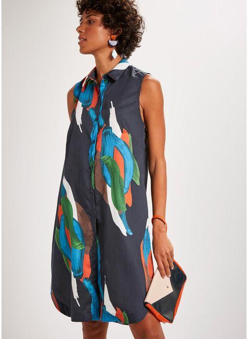 73fc708d1 Vestido chemisier curto estampado pintura - Compre Online na Cantão!