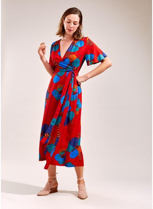Vestido Estampa Jade Midi Vermelho Cantao