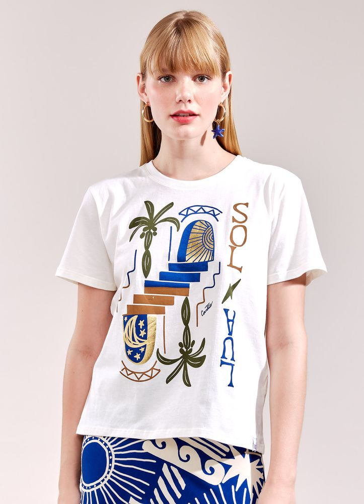 T-Shirt Local Sol E Lua BRANCO